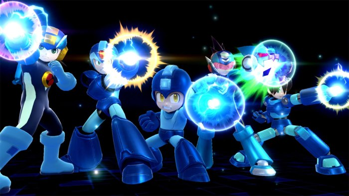 A whole pantheon of Megamen seen here during his Final Smash.