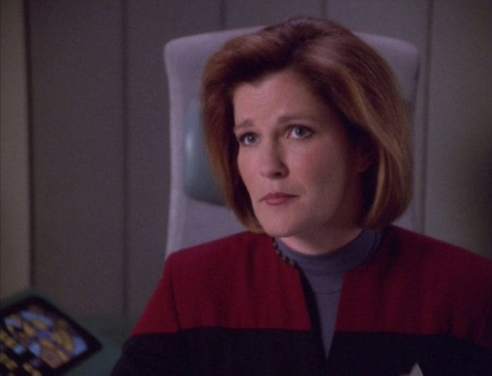 Janeway's got it tough being stranded in the middle of nowhere.